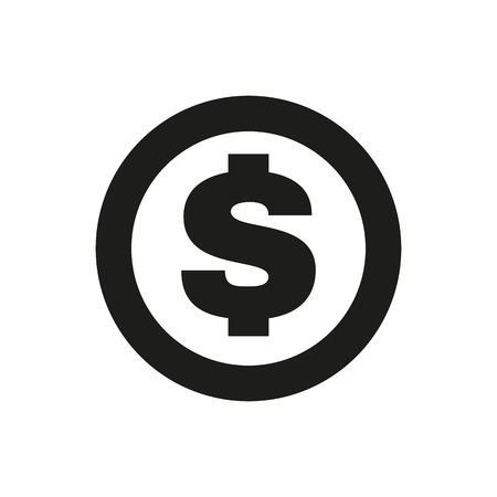 The dollar icon. Cash and money, wealth, payment symbol. Flat Vector illustration Ilustracja