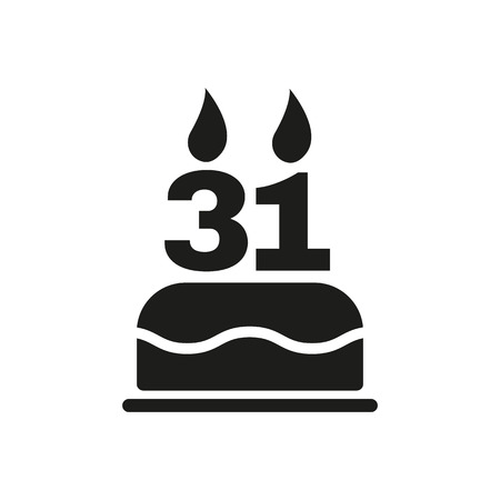 31: The birthday cake with candles in the form of number 31 icon. Birthday symbol. Flat Vector illustration