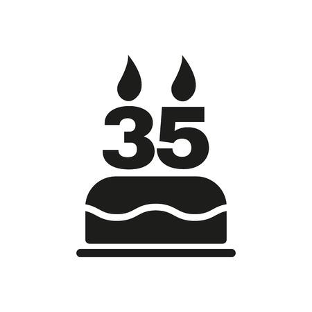 number candles: El pastel de cumplea�os con velas en forma de n�mero 35 icono. S�mbolo de cumplea�os. Ilustraci�n vectorial Flat