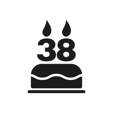 38: The birthday cake with candles in the form of number 38 icon. Birthday symbol. Flat Vector illustration Illustration