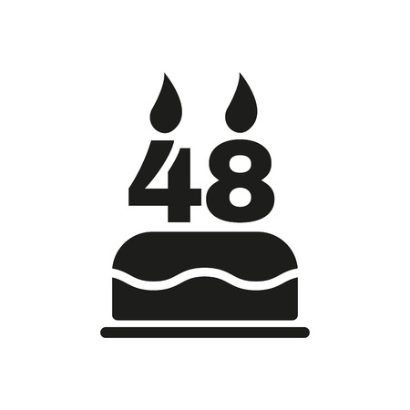 number candles: The birthday cake with candles in the form of number 48 icon. Birthday symbol. Flat Vector illustration Illustration