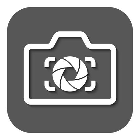 diaframma: L'icona della fotocamera. Foto e diaframma, fotografo simbolo fotografico. Piatto illustrazione vettoriale. Pulsante Vettoriali