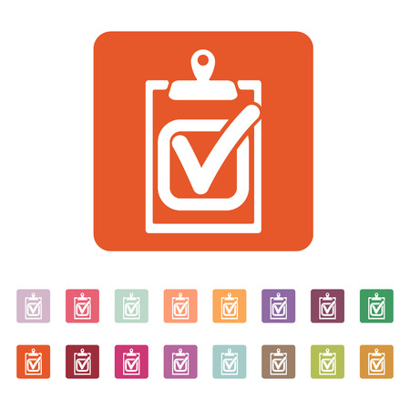 The checklist icon. Clipboard and executed task, correct answer symbol. Flat Vector illustration. Button Set