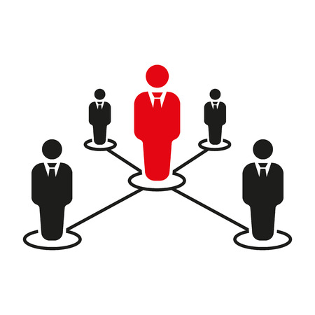 business connection: The teamwork icon. Leadership and connection, business teams symbol. Flat Vector illustration