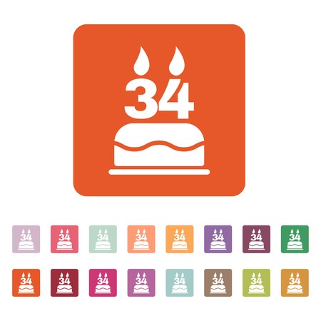 34: The birthday cake with candles in the form of number 34 icon. Birthday symbol. Flat Vector illustration. Button Set
