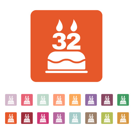 32: The birthday cake with candles in the form of number 32 icon. Birthday symbol. Flat Vector illustration. Button Set Illustration
