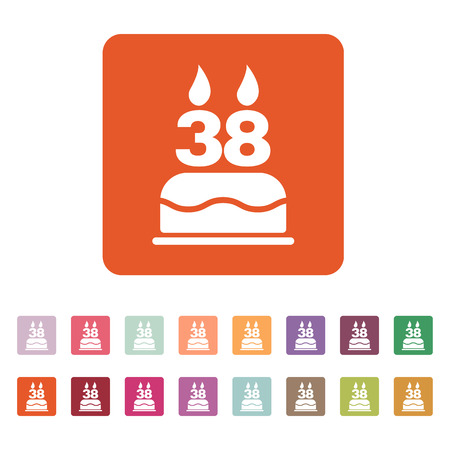 38: The birthday cake with candles in the form of number 38 icon. Birthday symbol. Flat Vector illustration. Button Set