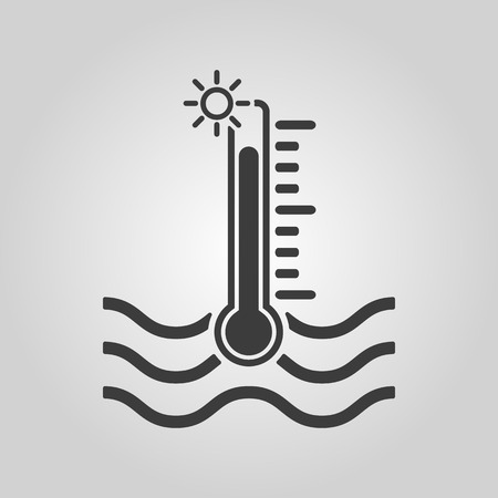 The warm water temperature icon. Hot liquid symbol. Flat Vector illustration