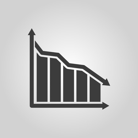 stock market graph: The graph down icon. Chart below and loss, reduction symbol. Flat Vector illustration
