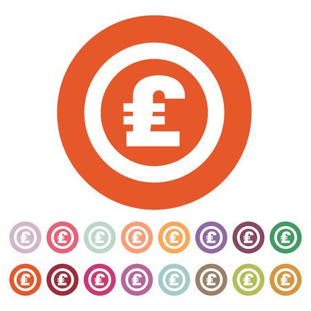 pound sterling: El icono de la libra esterlina. Dinero en efectivo y el dinero, la riqueza, símbolo de pago. Ilustración vectorial Flat. Botón Set Vectores