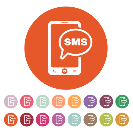 The sms icon. Smartphone and telephone, communication, message symbol. Flat Vector illustration. Button Set