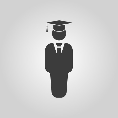 college: The student boy icon. School and academy, college, education symbol. Flat Vector illustration