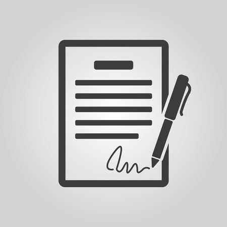 pacto: El icono del contrato. Acuerdo y firma, pacto, acuerdo, s�mbolo de convenciones. Ilustraci�n vectorial Flat Vectores