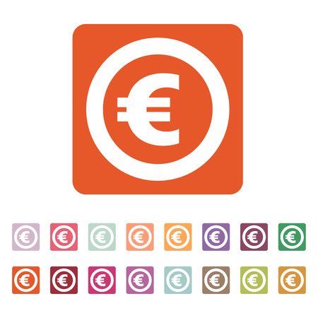 money wealth: The euro icon. Cash and money, wealth, payment symbol. Flat Vector illustration. Button Set