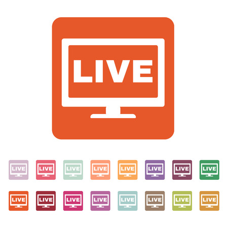 The live tv icon. Broadcasting and broadcast symbol. Flat Vector illustration. Button Set  イラスト・ベクター素材