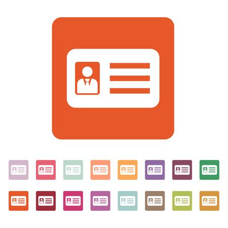 De accreditatie icoon. Toelating en kenteken, identificatie, pas, rijbewijs symbool. Platte web. Set