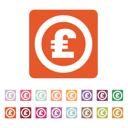 money wealth: The pound sterling icon. Cash and money, wealth, payment symbol. Flat Vector illustration. Button Set
