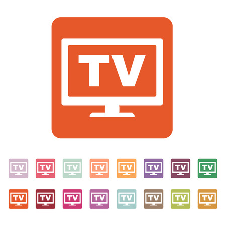 broadcast: The tv icon. Television and telly, telecasting, broadcast symbol. Flat Vector illustration. Button Set