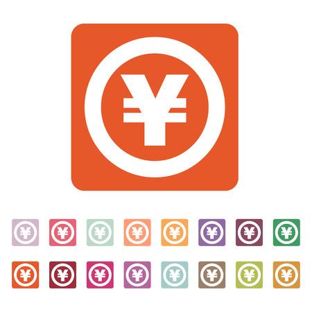 money wealth: The yen icon. Cash and money, wealth, payment symbol. Flat Vector illustration. Button Set