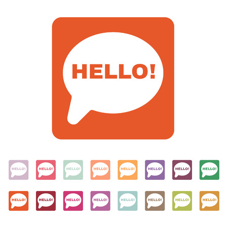 greet: The hello icon. Greet and hi symbol. Flat Vector illustration. Button Set