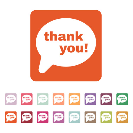 commendation: The thank you  icon. Thanks symbol. Flat Vector illustration. Button Set