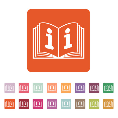 開いている本のアイコン。マニュアルとチュートリアルでは、命令、百科事典のシンボル。フラットのベクター イラストです。ボタン セット