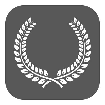 honors: The laurel wreath icon. Prize and reward, honors symbol. Flat Vector illustration. Button