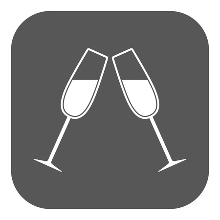 clink: The clink glasses icon. Wineglass and goblet, celebration symbol. Flat Vector illustration. Button