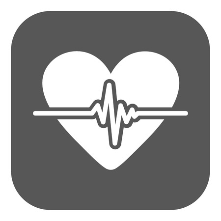 The heart icon. Cardiology and cardiogram, ecg, cardio symbol. Flat Vector illustration. Button Illustration