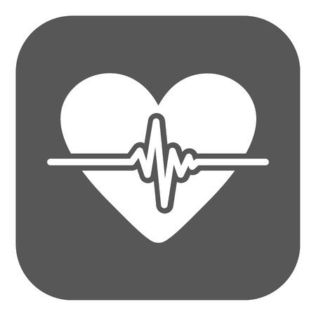 The heart icon. Cardiology and cardiogram, ecg, cardio symbol. Flat Vector illustration. Button 向量圖像