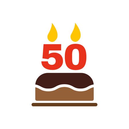 number 50: El pastel de cumplea�os con velas en forma de n�mero 50 icono. S�mbolo de cumplea�os. Ilustraci�n vectorial Flat