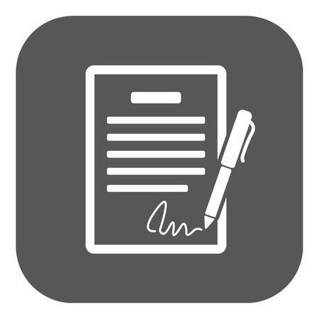 pacto: El icono del contrato. Acuerdo y firma, pacto, acuerdo, símbolo de convenciones. Ilustración vectorial Flat Button