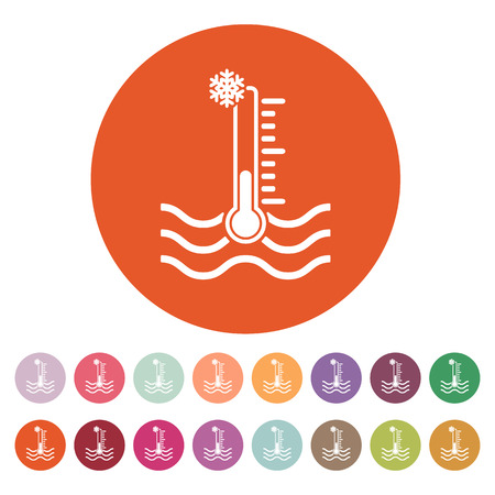 warning indicator: The cold water temperature icon. Icy liquid symbol. Flat Vector illustration. Button Set