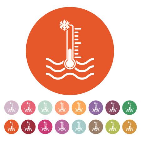 temp: The cold water temperature icon. Icy liquid symbol. Flat Vector illustration. Button Set