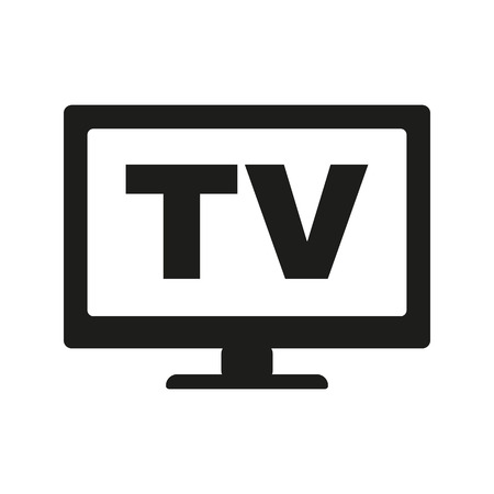 telly: The tv icon. Television and telly, telecasting, broadcast symbol. Flat Vector illustration