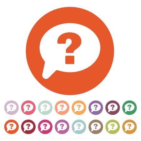 button set: The question mark icon. Help speech bubble symbol. Flat Vector illustration. Button Set