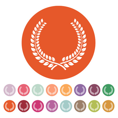 honors: The laurel wreath icon. Prize and reward, honors symbol. Flat Vector illustration. Button Set Illustration