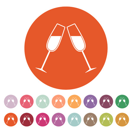 clink: The clink glasses icon. Wineglass and goblet, celebration symbol. Flat Vector illustration. Button Set Stock Illustratie