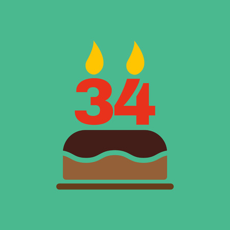 34: The birthday cake with candles in the form of number 34 icon. Birthday symbol. Flat Vector illustration Illustration
