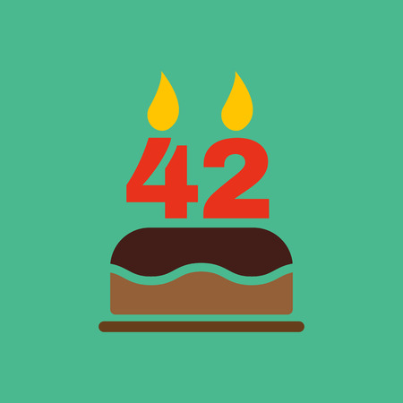 number candles: The birthday cake with candles in the form of number 42 icon. Birthday symbol. Flat Vector illustration