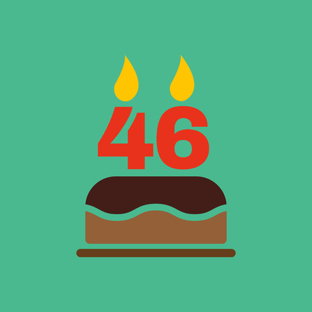 number candles: The birthday cake with candles in the form of number 46 icon. Birthday symbol. Flat Vector illustration