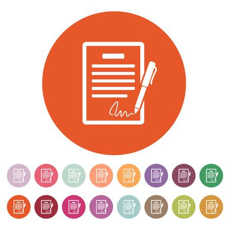 pacto: El icono del contrato. Acuerdo y firma, pacto, acuerdo, símbolo de convenciones. Ilustración vectorial Flat. Botón Set Vectores