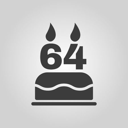 number candles: The birthday cake with candles in the form of number 64 icon. Birthday symbol. Flat Vector illustration Illustration