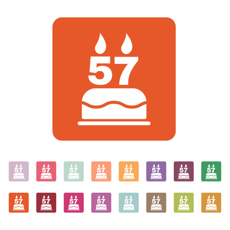 57: The birthday cake with candles in the form of number 57 icon Illustration