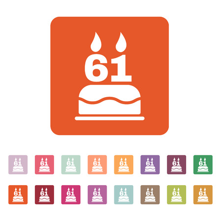 number candles: The birthday cake with candles in the form of number 61 icon Vectores
