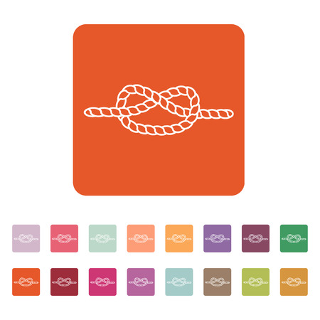 node: The knot icon. Node and tie, rope symbol. Flat Vector illustration. Button Set