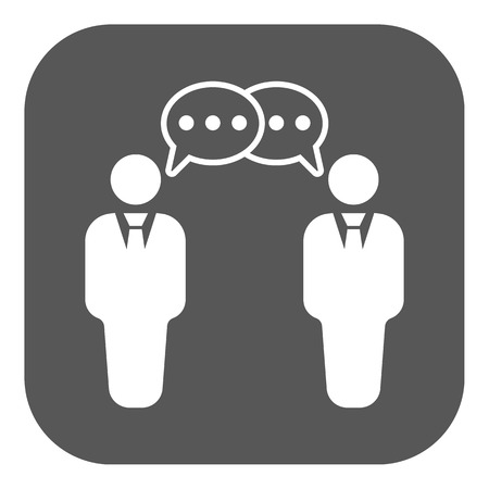 negotiations: The negotiations icon. Debate and dialog, discussion, conversations symbol. Flat Vector illustration. Button