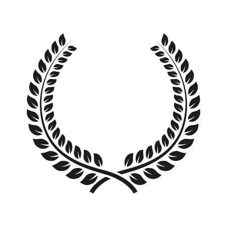 The laurel wreath icon. Prize and reward, honors symbol. Flat Vector illustration. Button Set Vettoriali