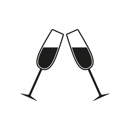 The clink glasses icon. Wineglass and goblet, celebration symbol. Flat Vector illustration