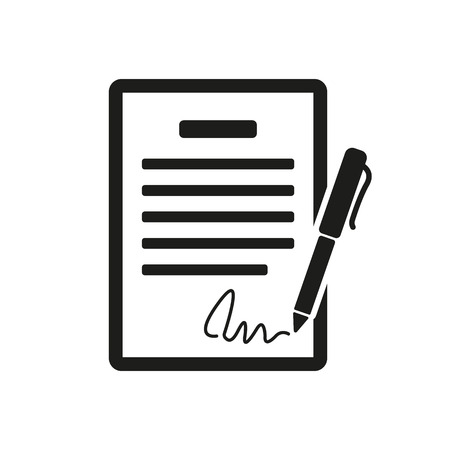indenture: The contract icon. Agreement and signature, pact, accord, convention symbol. Flat Vector illustration
